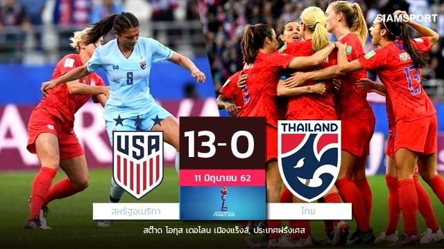 ชบาแก้วสุดต้าน! สาวไทยสู้เต็มที่พ่ายแชมป์เก่าสหรัฐฯขาดลอย ประเดิมนัดแรกบอลโลก